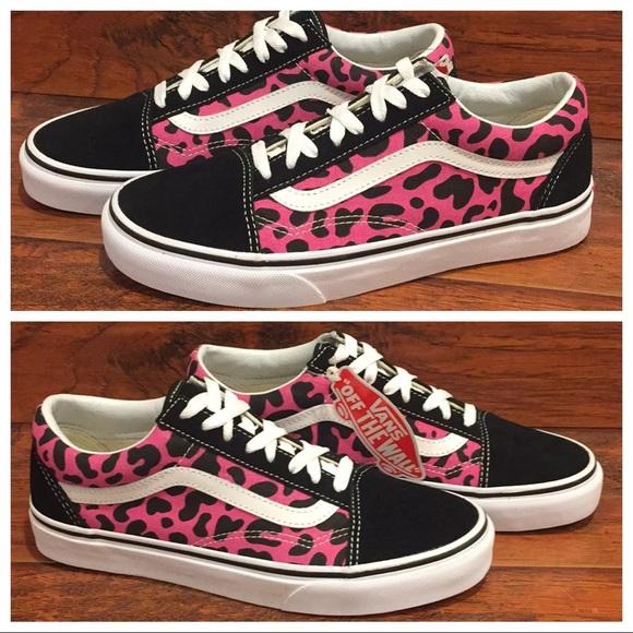 Vans Old Skool Pink & Black Leopard Print NWT